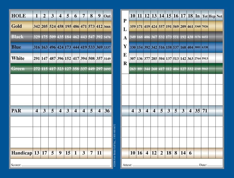Score Card Amp Usga Ratings Shale Creek Golf Club
